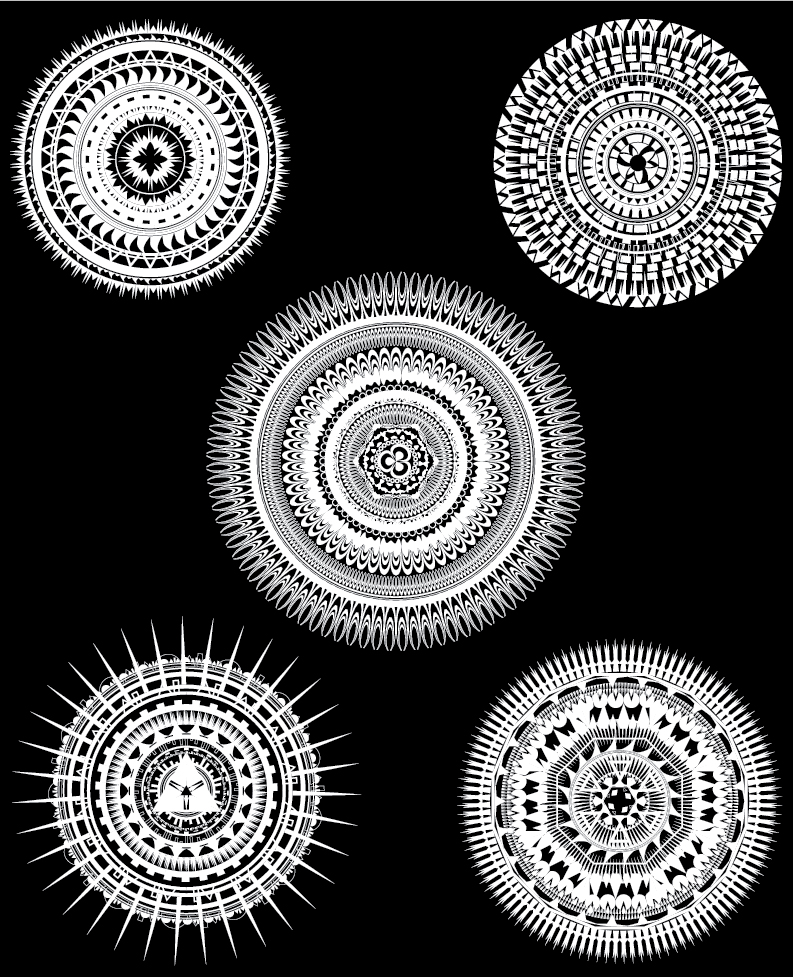 Black and White, Patterned, Circles, Polynesian, Designs