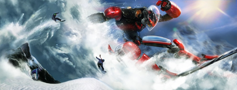 Giant Robot Snowboarding Causing an Avalanche