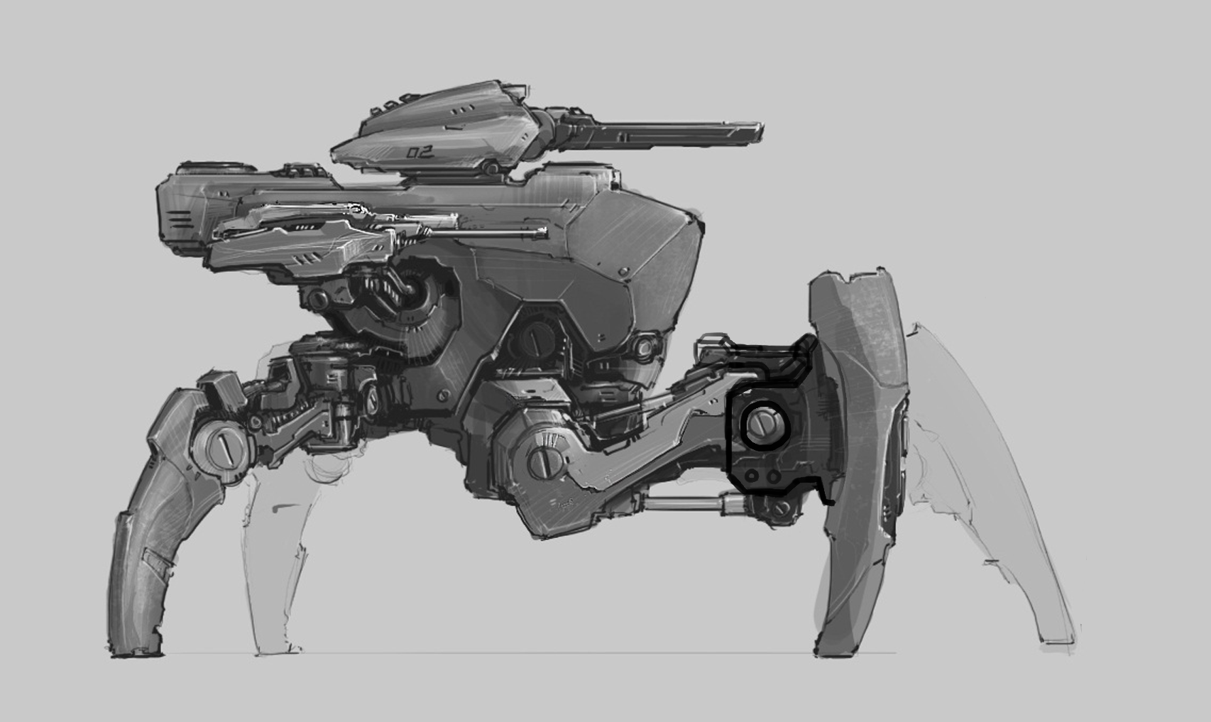 Walking Tank Robot Art