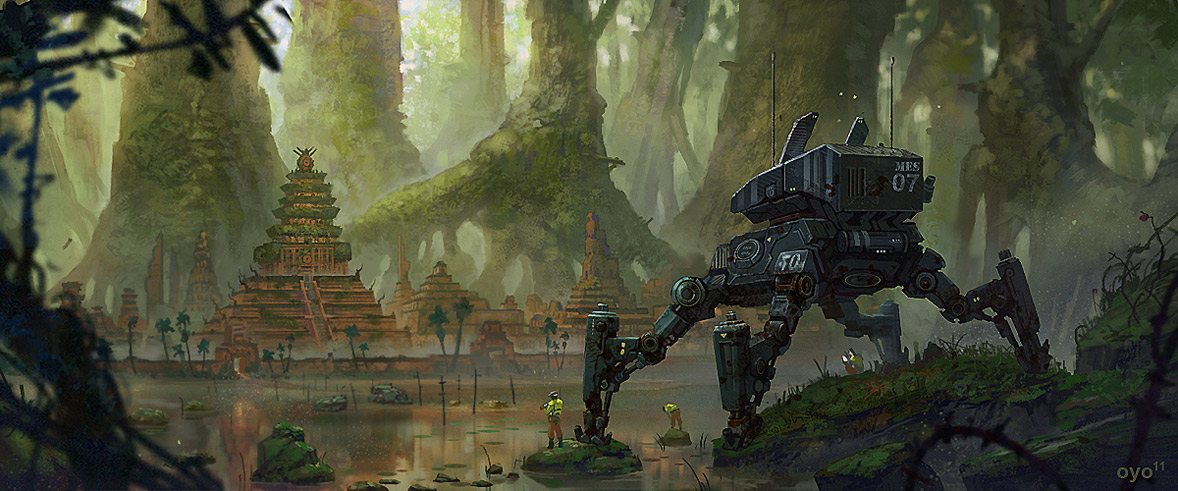 Walking Tank-like Robot in a Jungle Setting